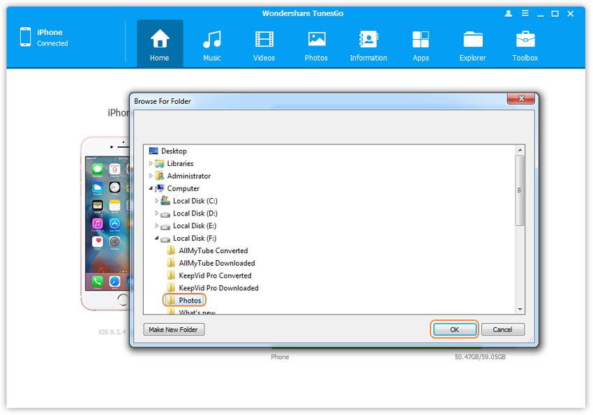 1-Klick Backup Ihrer Fotos auf dem PC/Mac - Suchen und Auswahl des Zielordners für die Fotos unter Mac