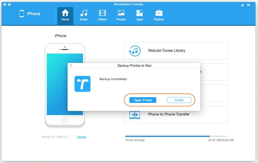 1-Klick Backup Ihrer Fotos auf dem PC/Mac - Export erfolgreich