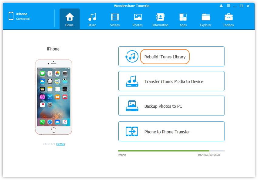 1-Klick Neufbau der iTunes Bibliothek - schließen Sie Ihr Apple-Gerät an