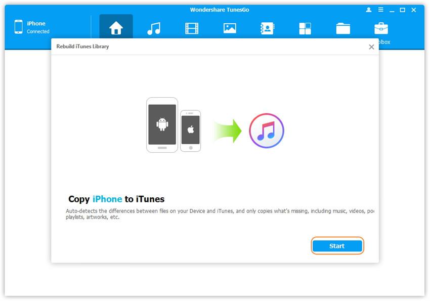1-Klick Neufbau der iTunes Bibliothek - Start des Suchlaufs nach Mediendateien auf dem iOS-Gerät