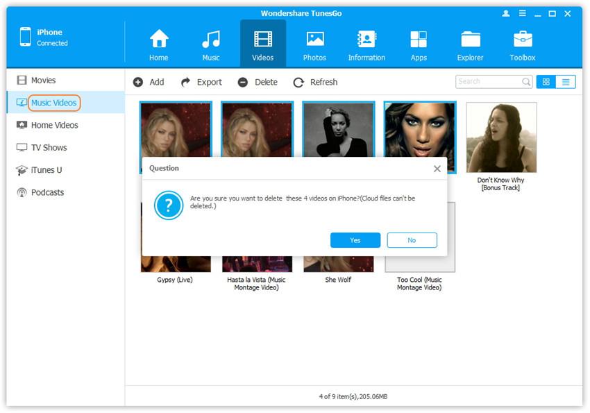 Löschen Sie Videos auf dem iPhone/iPad/iPod - wählen und löschen Sie Musikvideos auf dem iOS-Gerät.