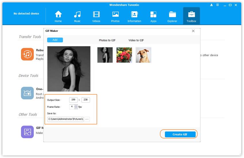 Fotos auf Ihrem lokalen Computer in GIF umwandeln - Legen Sie die Parameter fest und beginnen Sie mit dem Erstellen des GIFs