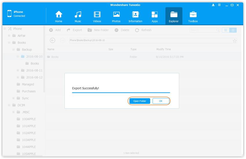 Ordner und Dateien auf dem iPhone/iPad/iPod Touch verwalten - Export erfolgreich