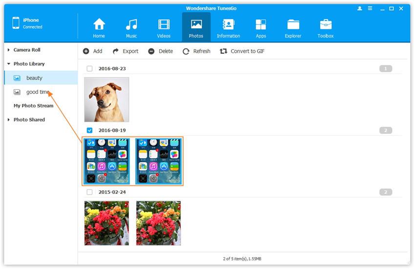 Fotoalben in der Foto-Mediathek verwalten - verbinden Sie Geräte mit dem Computer