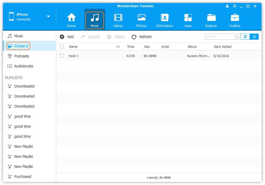 Audiodateien vom Computer auf ein iPhone/iPad/iPod übertragen - fügen Sie iTunes U zu einem iDevice hinzu