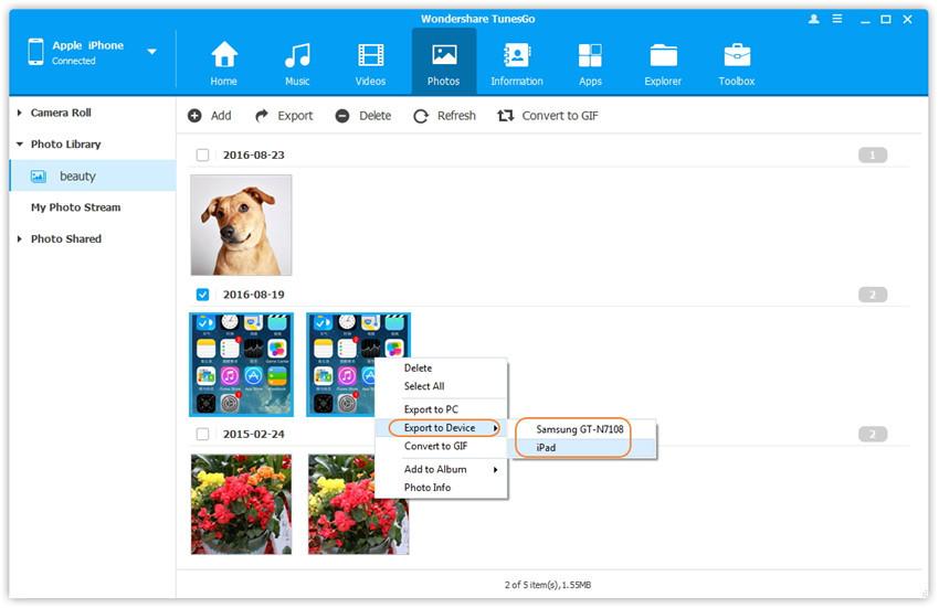 Fotos zwischen iPhone/iPad/iPod/Android-Geräten übertragen - Wählen und übertragen Sie Fotos zwischen Geräten