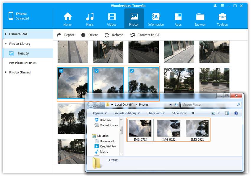 Fotos vom iPhone/iPad/iPod auf den Computer übertragen - Öffnen Sie den Ordner, um die exportierten Fotos zu sehen