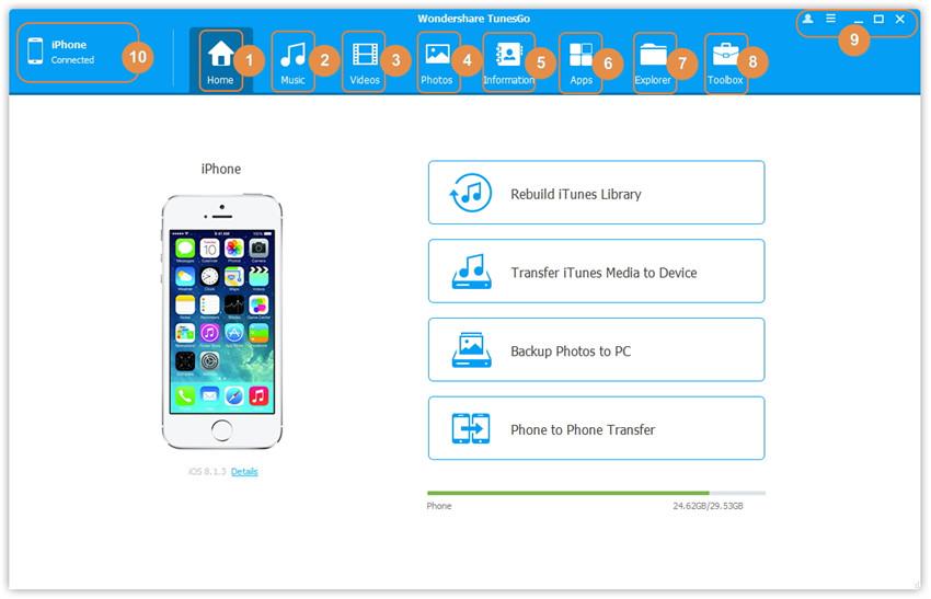 TunesGo Nutzeroberfläche - Hauptfenster ohne verbundenes Gerät