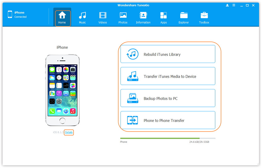 TunesGo Nutzeroberfläche - Hauptfenster mit verbundenem Gerät