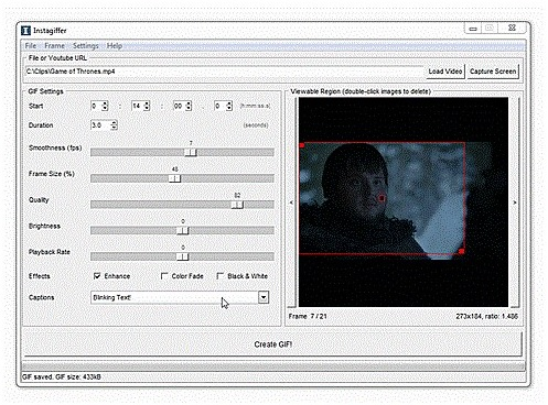 Convert Video to GIF - Instagiffer