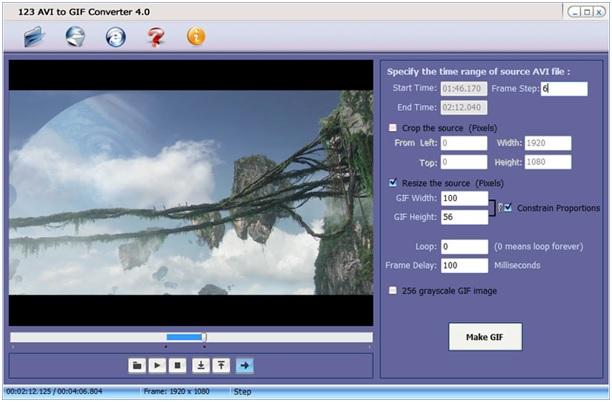 Convert MOV to GIF - 123 AVI to GIF Converter