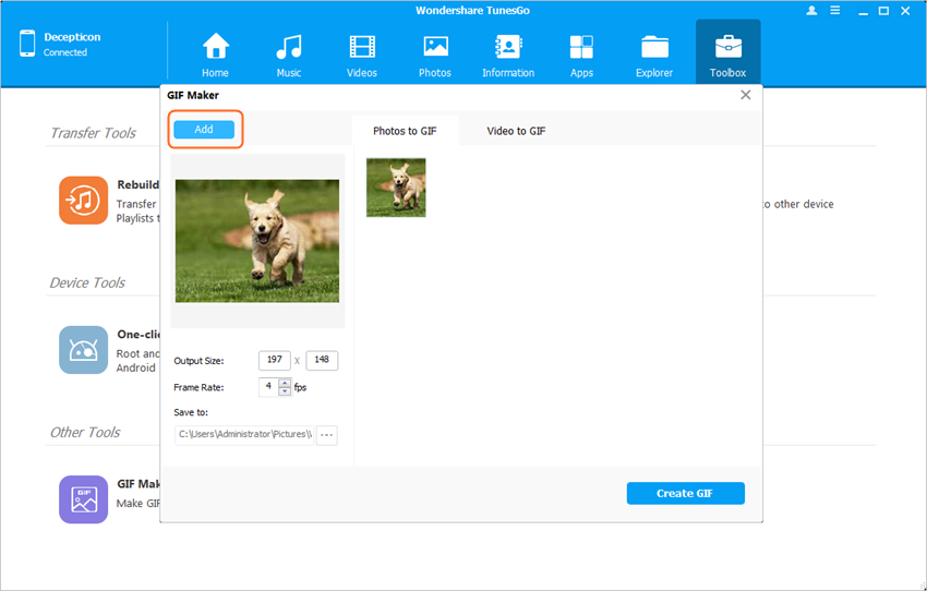 Images to GIF - Add Images to TunesGo