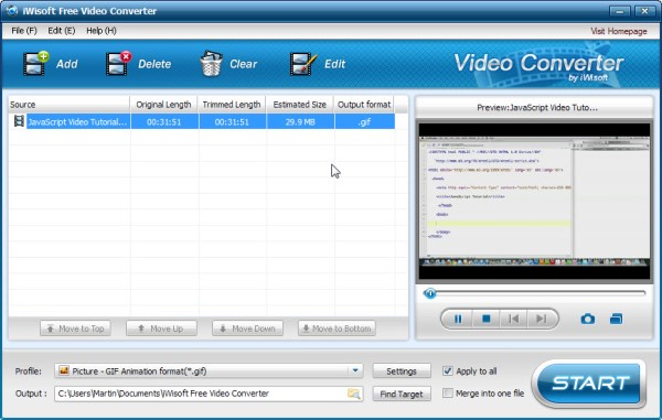 GIF to Video Converter - iWisoft Free Video Converter
