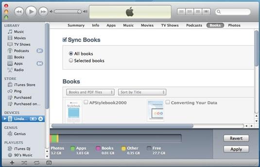 PDF-Dateien mithilfe von iTunes vom PC auf das iPad übertragen - Markieren Sie je nach Bedarf die Kontrollkästchen