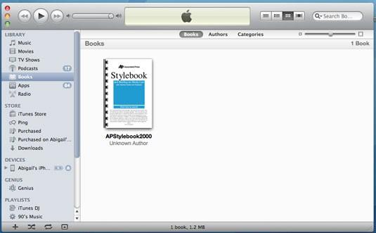 PDF-Dateien mithilfe von iTunes vom PC auf das iPad übertragen - Bücher in der iTunes-Bibliothek anklicken