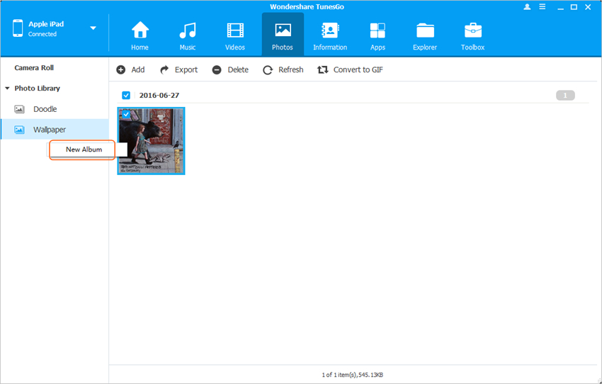 Organize Photos on iPad - Create New Album