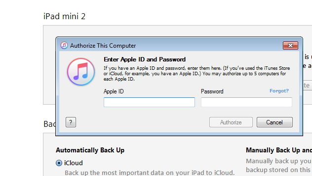 Syncing iPad to New Computer Using iTunes - step 4: provide apple ID and password