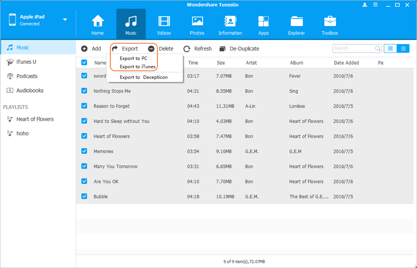 Transfer Music from iPad to iTunes - Transfer Files