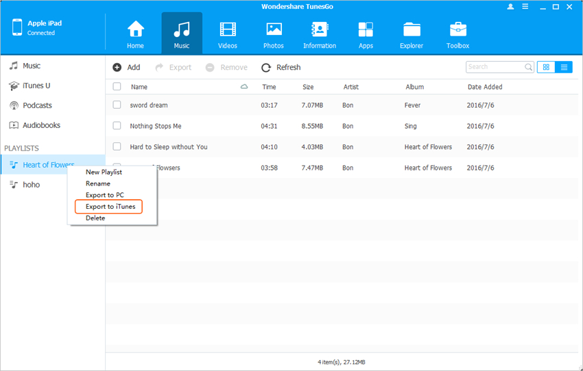 Transfer Other Files from iPad to iTunes - Transfer Playlist from iPad to iTunes