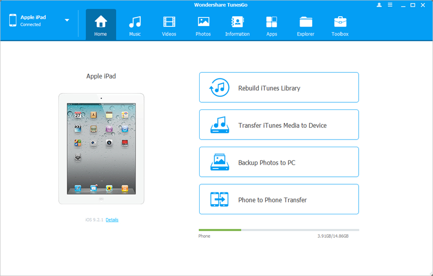 transfer photos from camera to iPad with TunesGo - Start TunesGo and Connect iPad
