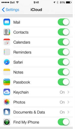 How to Sync iPhone to iPad with iCloud- Turn on Files You Want to Transfer