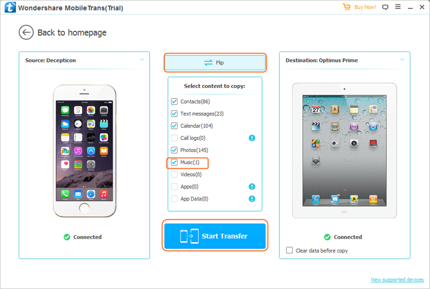 Transfer Music from iPhone to iPad with MobileTrans - Step 2: Select Phone to Phone transfer