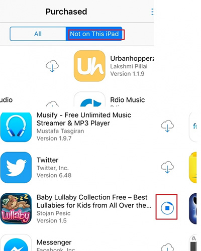 Transfer Apps From iPhone to iPad With App Store - step 3: select Not on this iPad