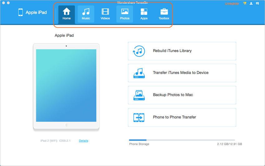 Transfer iPad Music to iTunes - Select a File Category