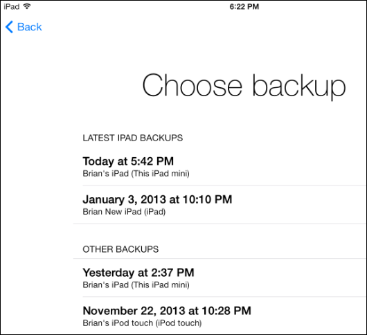 How to Sync iPhone to iPad with iCloud- Choose the Last Backup