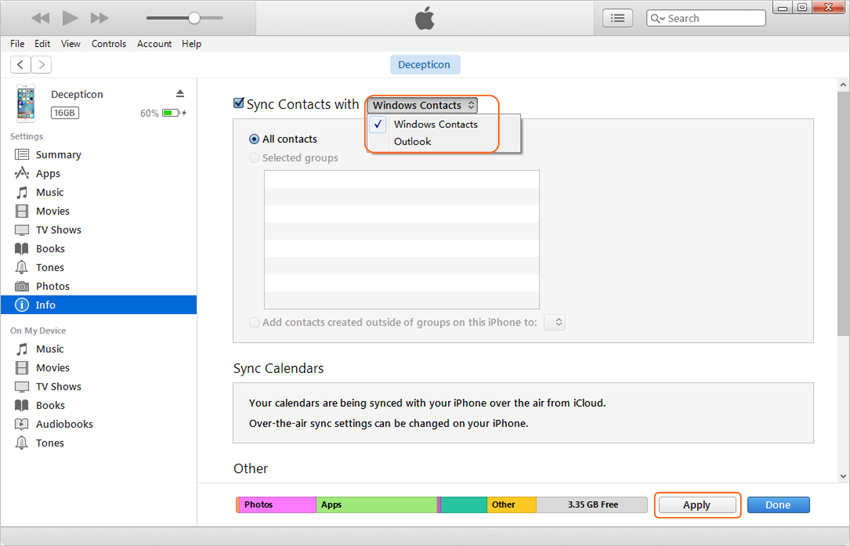 Transfer contacts from iTunes to iPhone - step 3: Select Info