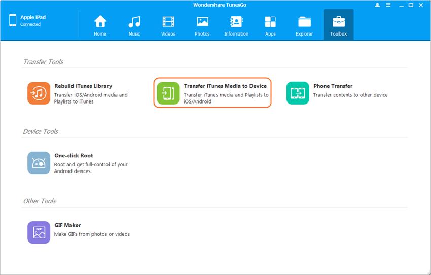 transfer files from pc to ipad - Start TunesGo