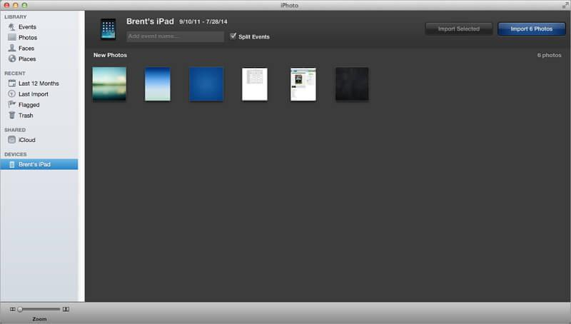 Use iPhoto to Download Photos from iPad to Mac
