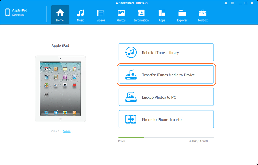 iPad File Manager - Transfer iTunes Media to Device