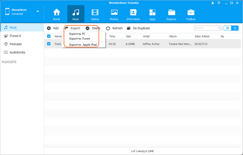 transfer music from ipad to ipad - Export Music from iPad to iPad