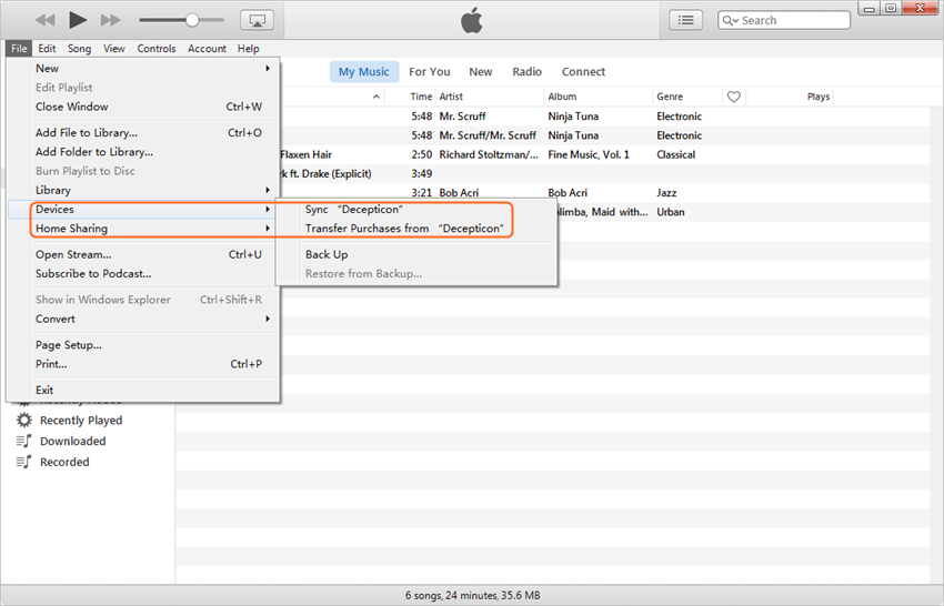 Transfer Music from iPhone to iPad with iTunes -  Transfer Purchases