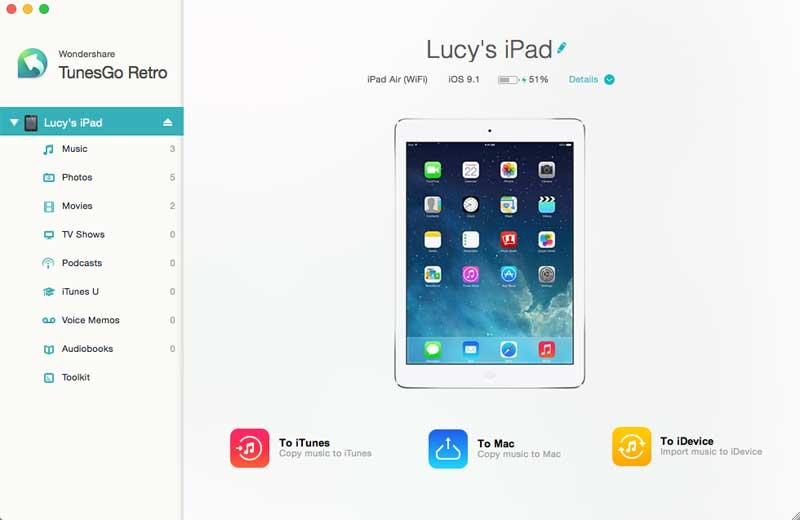 Use Wondershare TunesGo Retro (Mac) to Transfer iPad Photos to Mac