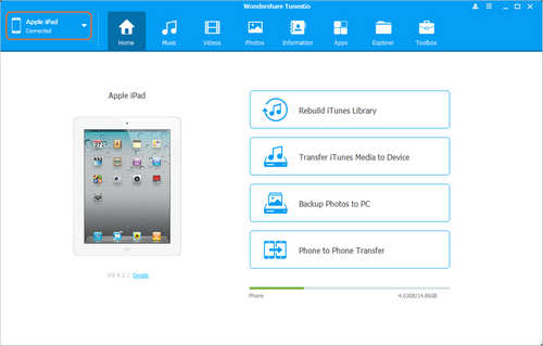transfer music from ipad to ipad - Start TunesGo