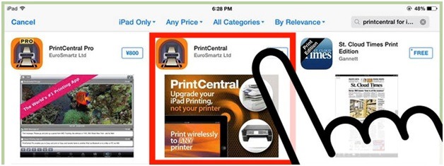connecting printer to iPhone-download and install PrintCentral