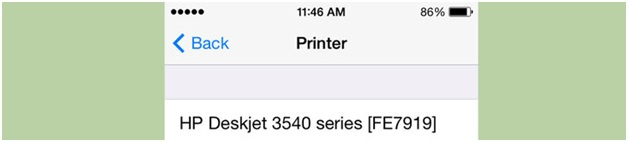 connect iphone to wireless printer-pop up the name of the printer