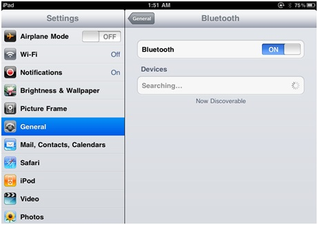 Connect Bluetooth to iPhone - Open Bluetooth on iPhone and iPad