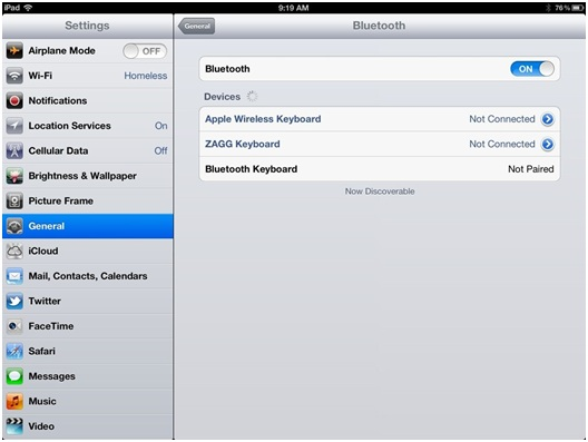 Connect Bluetooth to iPhone - Find iPhone on iPad