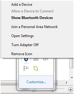 Connect Bluetooth to iPhone - Click Bluetooth icon
