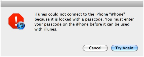 iPhone Says Connect to iTunes - Waning Dialog