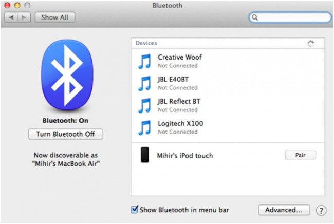 connect iPhone to Mac - Use Bluetooth step 4