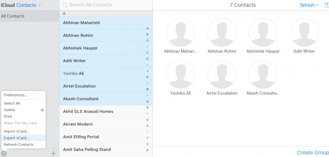copy contacts from iPhone to PC - clog-wheel button
