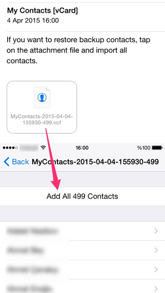 copy contacts from iPhone to PC - open the mail on your PC
