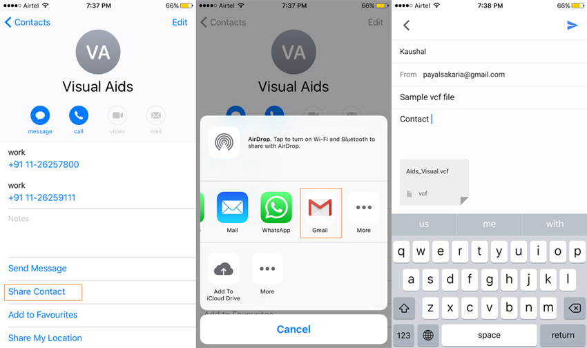 export iPhone contacts to vCard using direct method