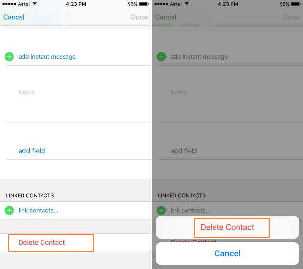 Deleting local contacts on iPhone