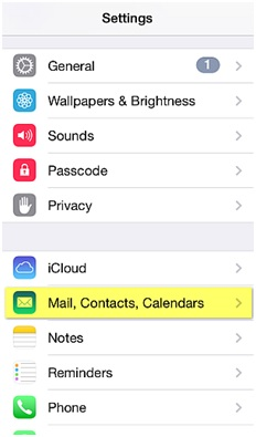 Sync iPhone Contacts - Tap Settings