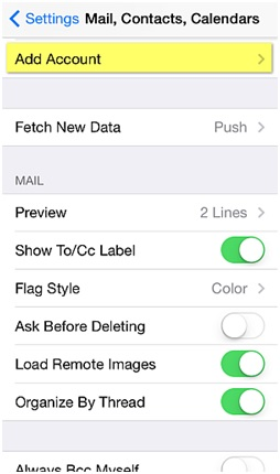 Sync iPhone Contacts - Add Account